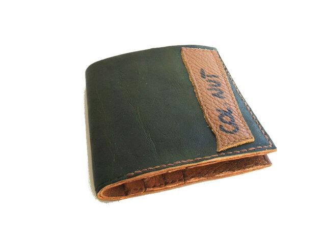 財布 二つ折り 札入れ グリーン 手染めの画像1枚目