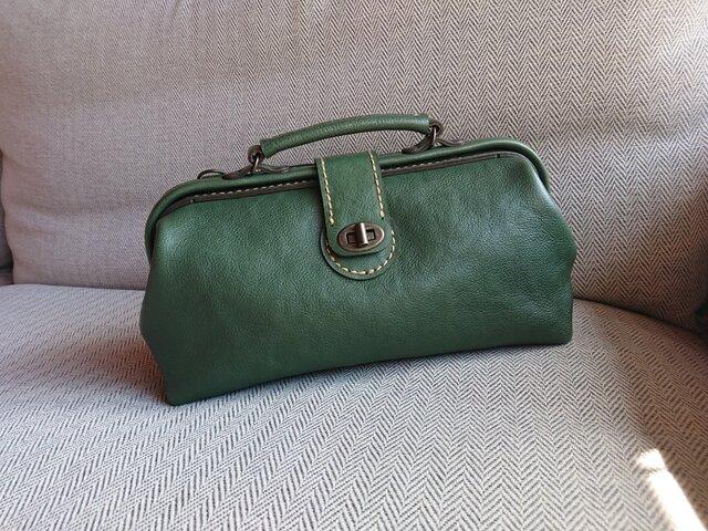ハンドメイド 手縫い 本革 鞄 ダレス バッグ グリーンの画像1枚目
