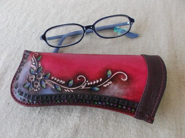メガネケース レザー 刻印、拭き染め の画像1枚目