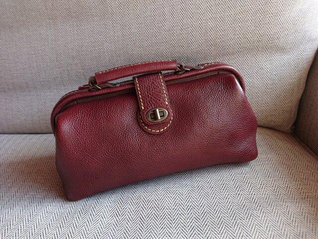 ハンドメイド 手縫い 本革 鞄 ダレス バッグ ワインの画像1枚目