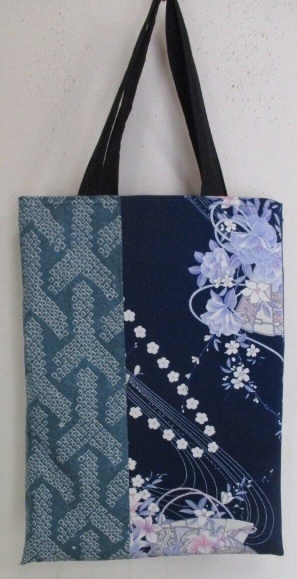 4535 花柄の振袖と絞りで作った手提げ袋 #送料無料の画像1枚目