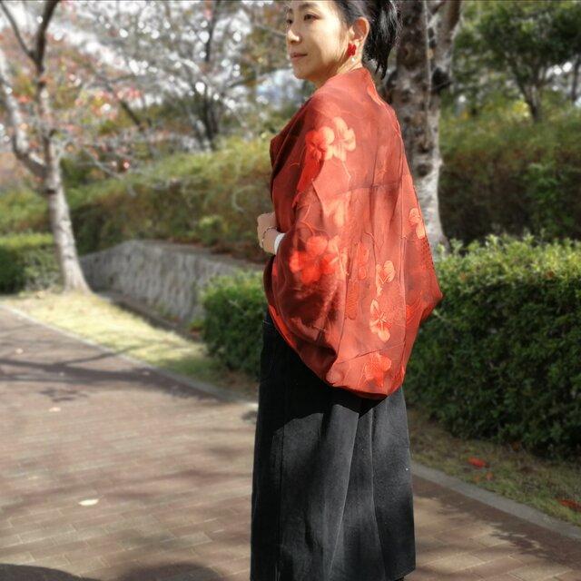 きもの デッドストック ヴィンテージ 生地 羽織 カーディガン☆ 紅葉の画像1枚目