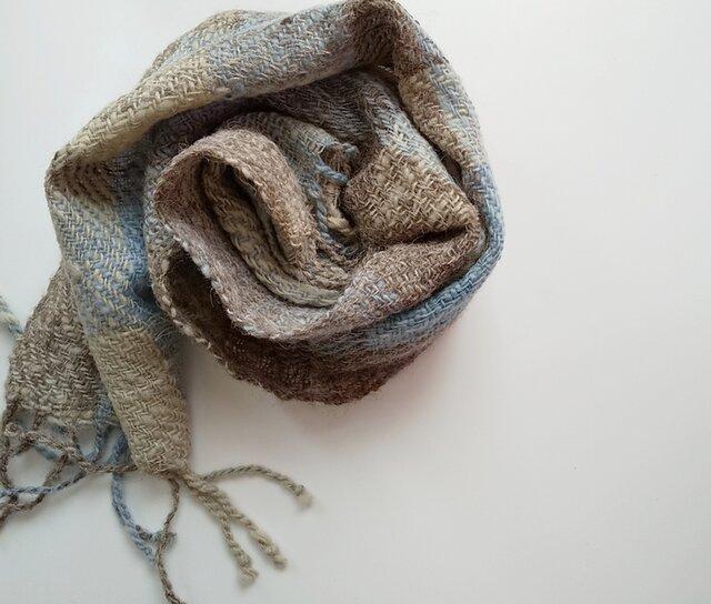 ホームスパン 草木染 ふっくらあったか手織り藍染めマフラー 311の画像1枚目