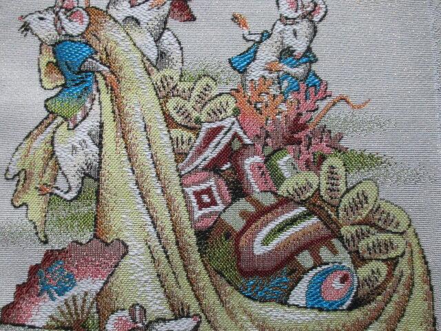 ねずみ年 ゴブラン織り掛け軸 タペストリーの画像1枚目