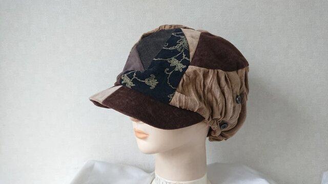 魅せる帽子☆布遊びのあったかフリーキャスケット(キャメル&ブラウン)の画像1枚目