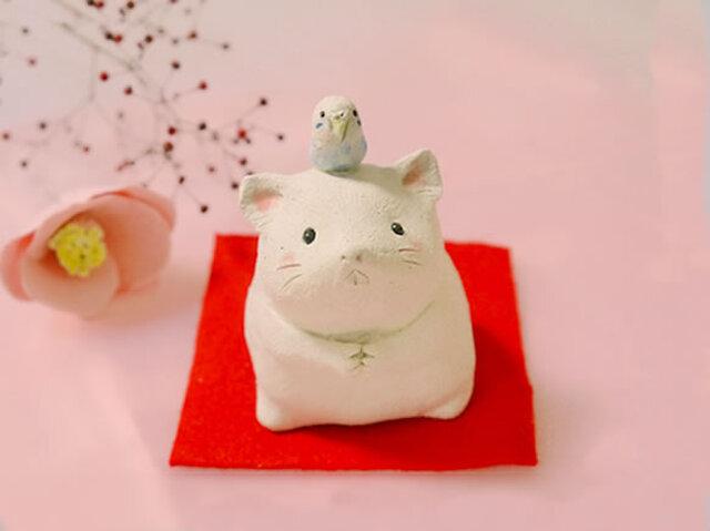 2020年の干支 子(ネズミ)の陶器の置物「ねずみとセキセイインコ」の画像1枚目