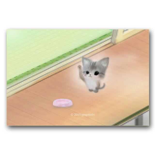 「ごはん食べたいヒト、手をあげてえー^^ハーイ!」 ほっこり癒しのイラストポストカード2枚組   No.904の画像1枚目