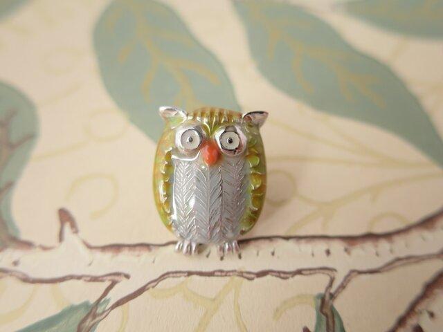 【S】様 オーダー品 SV Owl (Yellow) tiny pinの画像1枚目
