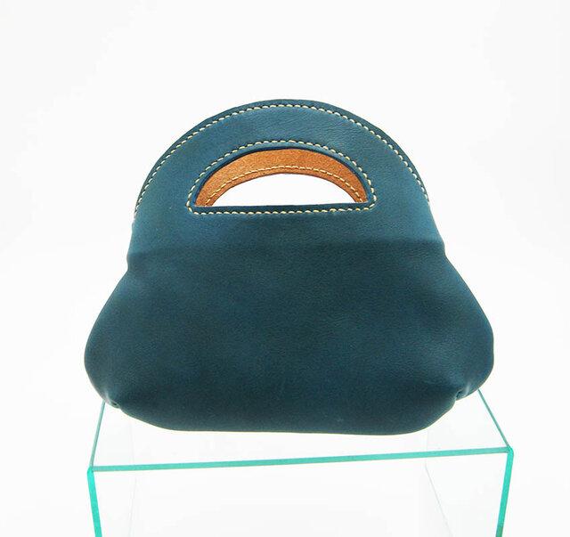 青緑色のちびトートバッグの画像1枚目
