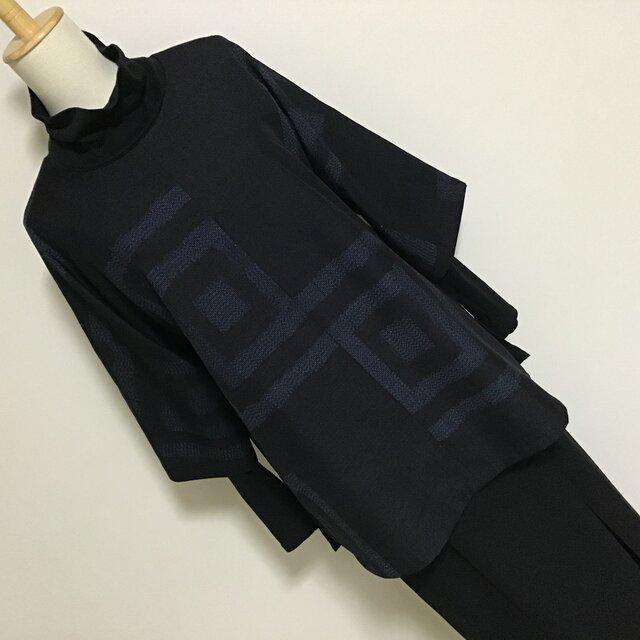 1123    着物リメイク 七分袖チュニック  十日町紬 升模様の画像1枚目