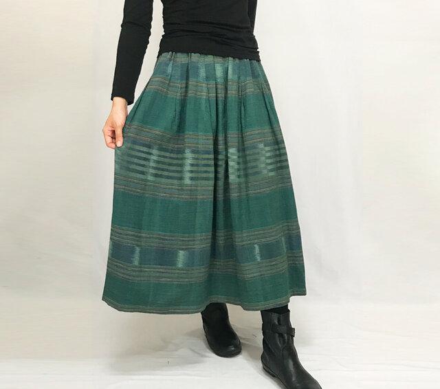 再販★手織り綿絣ロングスカート、萌葱色グリーン、オールシーズンの画像1枚目