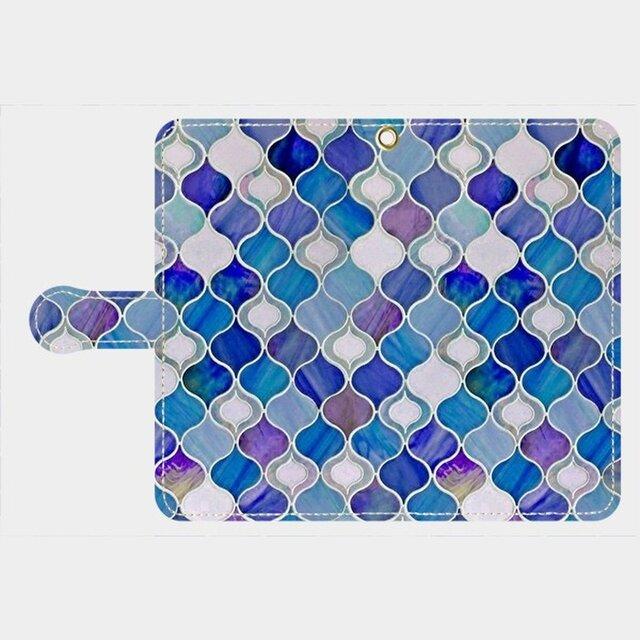 グラスタイル アラベスクパターン(ディープブルー) xperia、galaxy 等多機種対応手帳型 スマホケース の画像1枚目