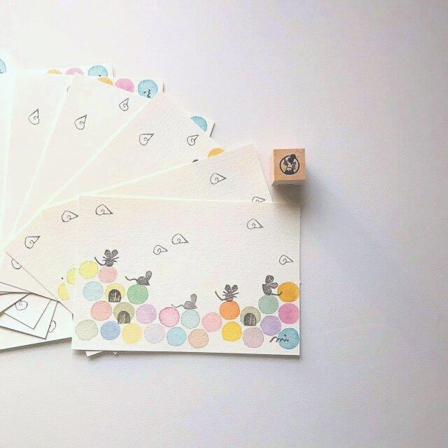 <柄の入れ替え可能です>「穴ぼこネズミ」ポストカード10枚セットの画像1枚目