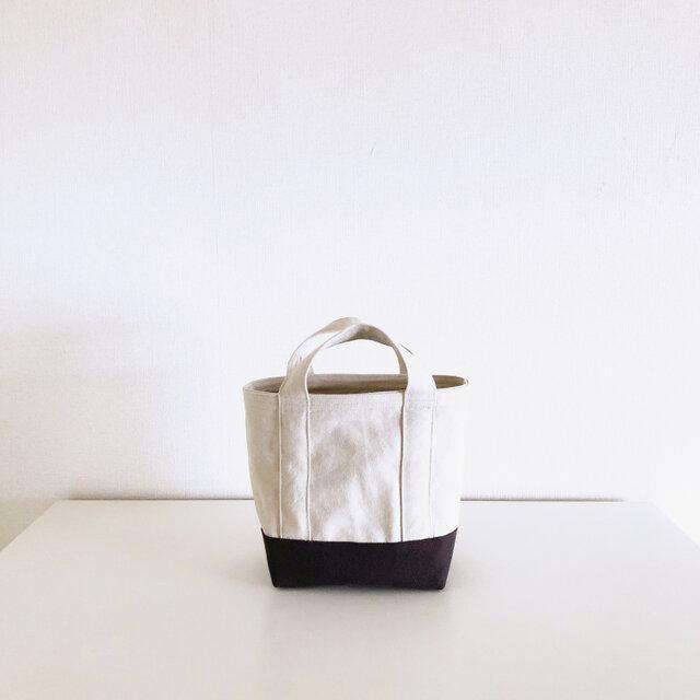 TOTE BAG -bicolor- (S) / ecru × chocolateの画像1枚目