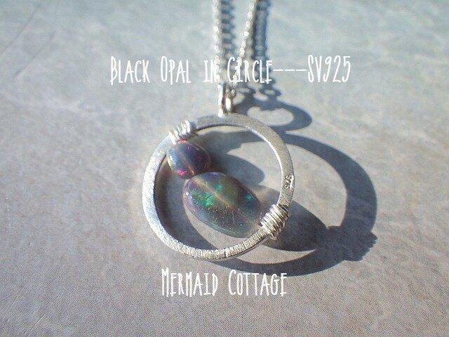 Black Opal in Circle---SV925/ブラックオパールの画像1枚目