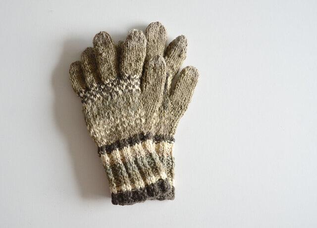 1点限定!ナロモル ハンドメイド 草木染手袋 オリーブグレーの画像1枚目