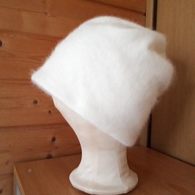 リバーシブルニット帽*オフホワイト×ポップフラワーの画像1枚目