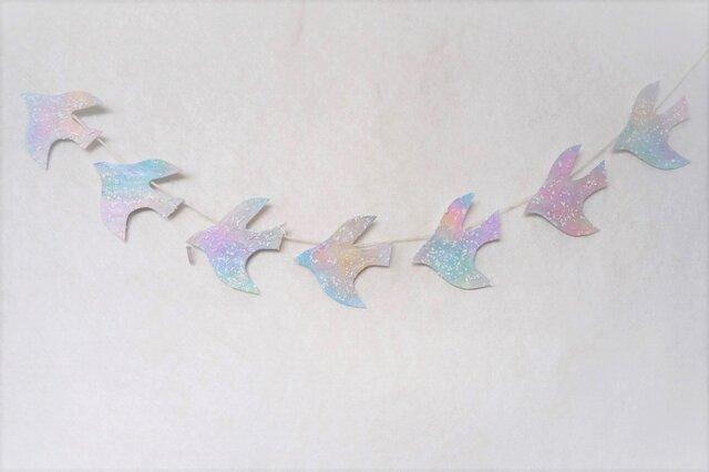 水晶と雪の鳥のガーランド 2の画像1枚目