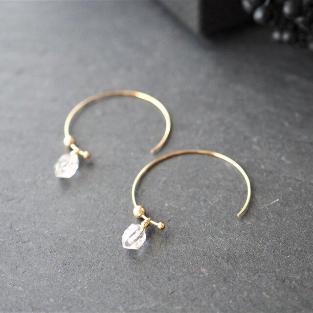 ハーキマーダイヤモンド 2WAYフープピアス NO.20HF513A-G1【送料無料】の画像1枚目