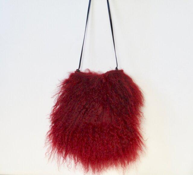 X'mas モンゴリアンムートンのミニバッグ(赤)の画像1枚目