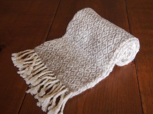 手紡ぎのマフラー(淡いグレー・綾織)の画像1枚目