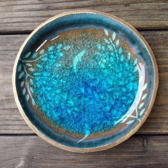 空色みずたまり小皿 枝葉と魚 no.39の画像1枚目