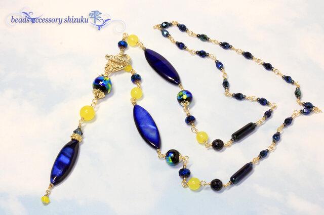 ホタル玉とシェルのY字ネックレス*Blue&Yellowの画像1枚目