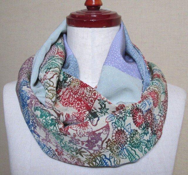 着物リメイク 上質な型染の縮緬着物×江戸小紋から作ったスヌードの画像1枚目