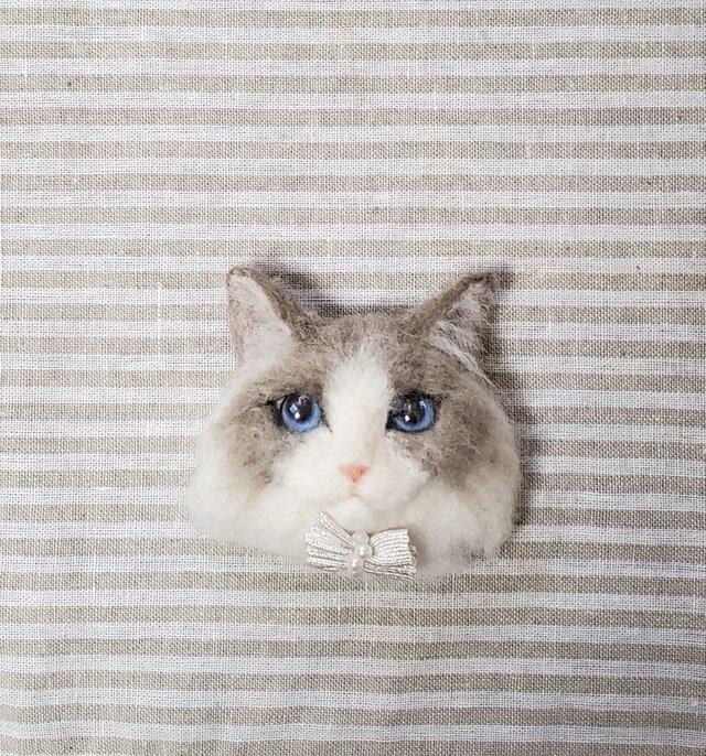猫顔 ラグドールオーナメント 羊毛フェルトの画像1枚目