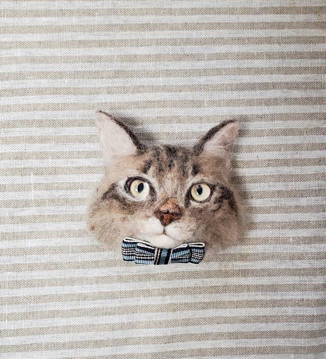 サイベリアン猫顔オーナメント 羊毛フェルトの画像1枚目