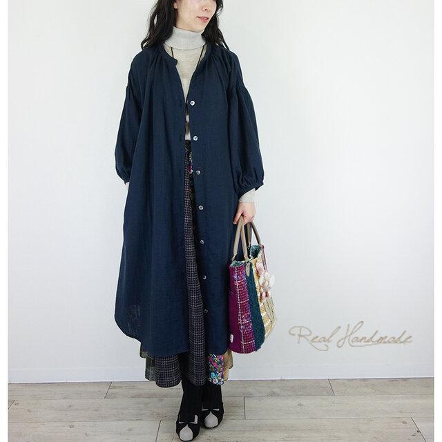 [予約販売] スラブWガーゼネイビードロップ羽織りワンピースの画像1枚目