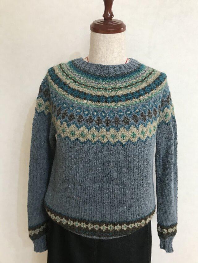 編み込み丸ヨークセーターの画像1枚目