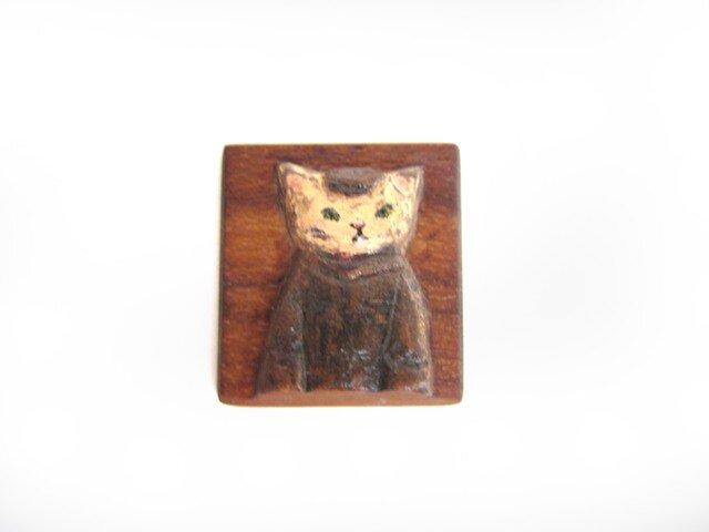 ウッドブローチ チーク ネコの画像1枚目