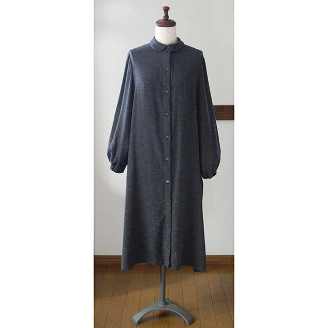 丸衿のシャツワンピース コットン起毛ツイル ヘリンボーン モカ&ネイビー(M)の画像1枚目