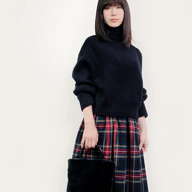 NEW! 秋冬 ウール 黒×赤×青×緑 タータンチェック ロングスカート ●CHELSEA●の画像1枚目
