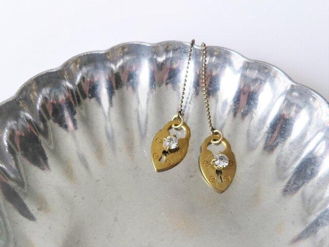 ハートロックピアス pierced earrings heart lock <PE4-0120>の画像1枚目