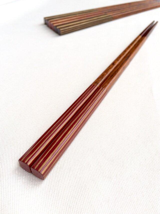 摺り漆の箸 〈金ストライプ・朱〉の画像1枚目