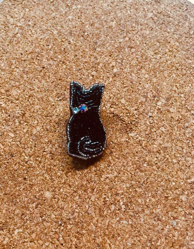 【セール!!】ビーズ刺繍 猫(クロ)の画像1枚目