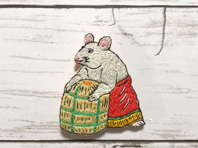 手刺繍日本画ブローチ*川崎巨泉「丙子鼠」の画像1枚目
