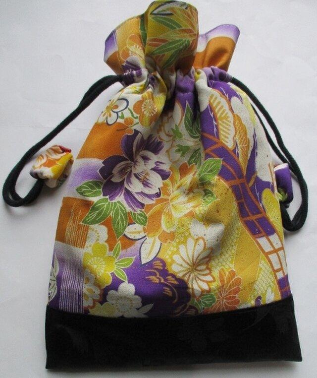 4565 花柄の着物と帯で作った巾着袋 #送料無料の画像1枚目