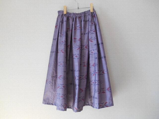 特別セール★薄紫色の大島紬リメイクスカートの画像1枚目