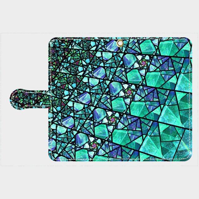 ステンドグラス モチーフ (ターコイズ) アンドロイドLサイズ専用 手帳型スマホケース の画像1枚目