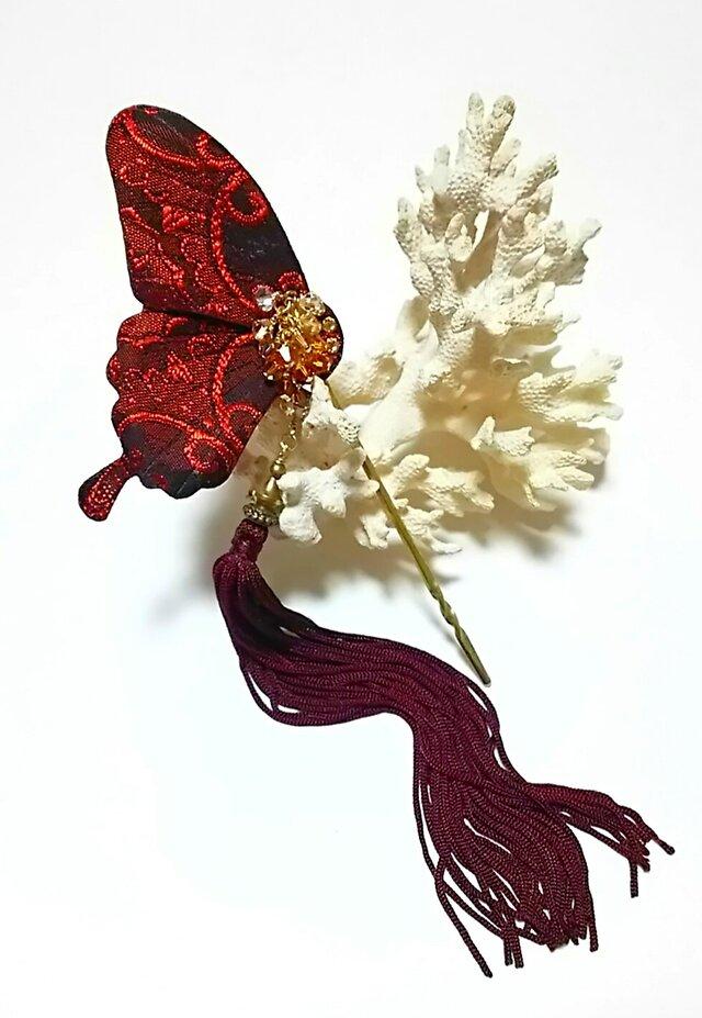【新作】帯地の蝶かんざしの画像1枚目