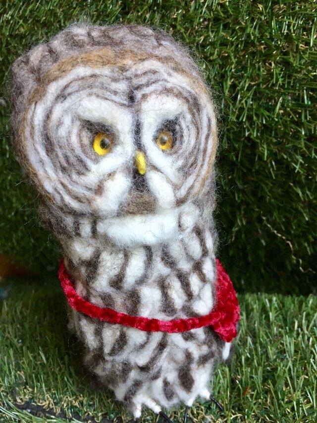 羊毛フェルトのカラフトフクロウの画像1枚目