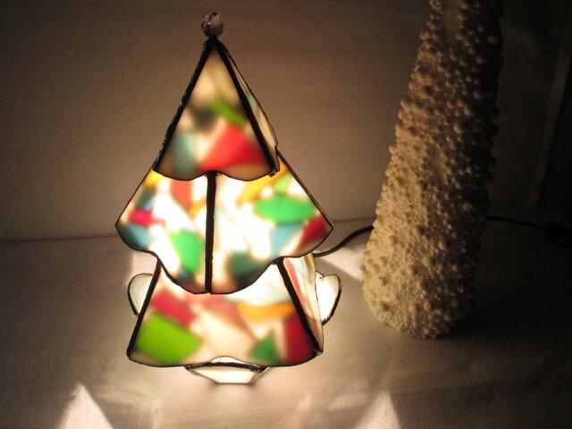 ステンドグラス クリスマス ツリー ランプの画像1枚目