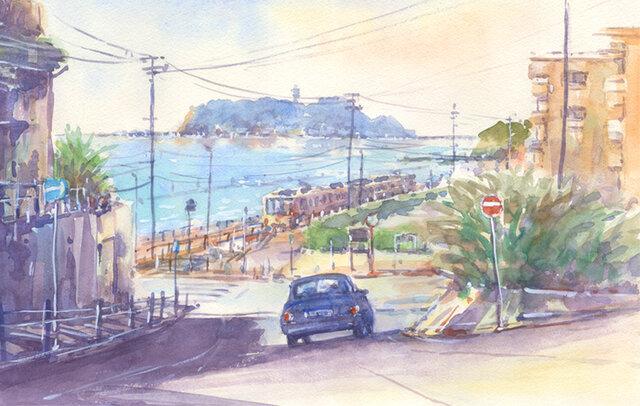 注文制作します 水彩画原画 江の島と江ノ電16(#396)の画像1枚目