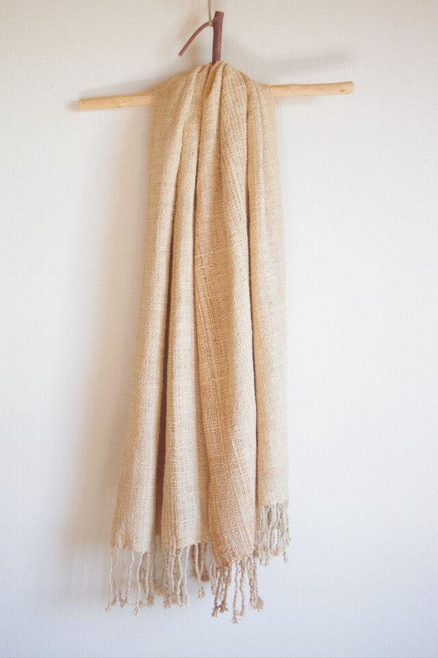 水引真綿の手織りマフラー 草木染・ベージュ の画像1枚目