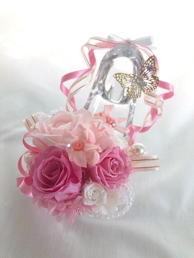 【プリザーブドフラワー/ガラスの靴シリーズ】プリンセスの魔法の時間【フラワーケースリボンラッピング付の画像1枚目