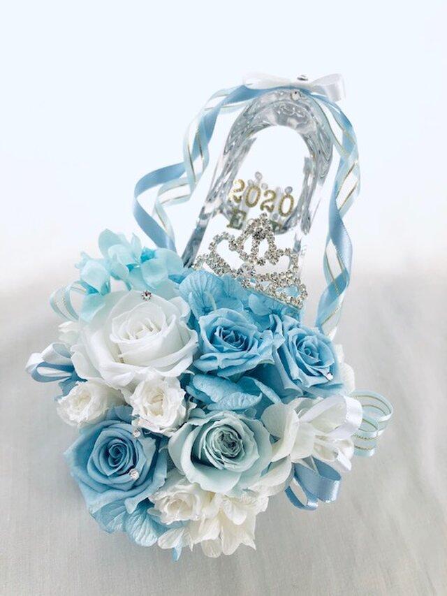 【プリザーブドフラワー/ガラスの靴シリーズ】シンデレラのティアラと魔法の時間【フラワーケースリボンラッピング付の画像1枚目