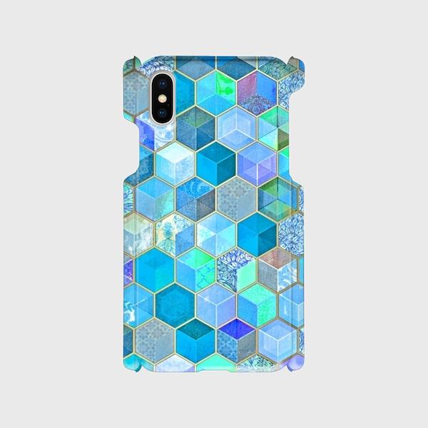 ハニカムボヘミアンパターン (cool blue) iphone5/5c/5s/6/6s/7/8/X 等 専用  の画像1枚目